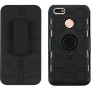 Let op type!! Voor Huawei P9 Lite Mini 3 in 1 Cube PC + TPU beschermhoes met 360 graden draaien zwarte ring houder (zwart)