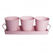 Set decorativ 3 ghivece cu suport, culoare roz, MN011645, Feronya