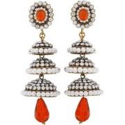 Maayra 3 Victiorian Jhumkas in one Earrings Orange White Jhumki Wedding Festival Jewellery