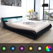vidaXL Легло с LED лента, с матрак, изкуствена кожа, 160x200 cм, черно
