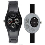 Rosra Black Men and One Side Dial Diamond Black Women Watches Couple For Men and Women