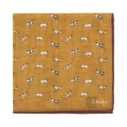 Drake's Wool/Silk Dogs Print Pocket Square Mustard