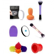 Kelley Silicone Makeup Sponge For Blending Foundation With Original Beauty Blender Expert Base Flawless Face Blush Brush With Brush Cleaner 5x Magnification Mirror 2in1 Wooden Brush 4 Pieces Makeup Sponges And 1 Lip Plumper Tool
