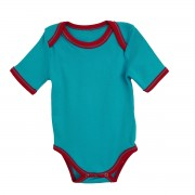 Body albastru cu manseta rosie si cusatura decorativa pentru bebelusi