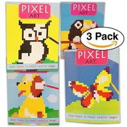 3 Pack- Pixel Art Coloring Book has pixels to color by numbers and reveal images