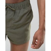 ASOS TALL Swim Shorts In Khaki Super Short Length - Green