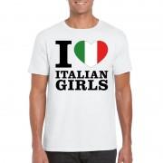 Bellatio Decorations I love Italian girls t-shirt wit heren
