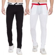 Cliths Pack Of 2- Black White White Red Stylish Joggers For Men/ Casual Trackpants For Men
