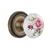 Nostalgic Warehouse roseta de cuerda con perilla de porcelana de rosa blanca, Double Dummy, Antique Brass