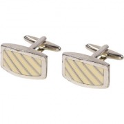 69th Avenue Men's Rectangle Shape Silver Plated Cufflinks