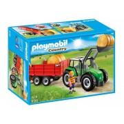 Playmobil Klocki konstrukcyjne Duży traktor z przyczepą 6130