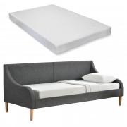 PremiumXL - [en.casa] Sofa - trosjed / sjedeći namještaj (tamno sivi, 90x200cm, sa HR madraca)