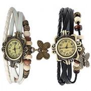 Omkart Set of 2 Fancy Vintage Black White Leather Bracelet Butterfly Watch for Girls Women - Combo Offer