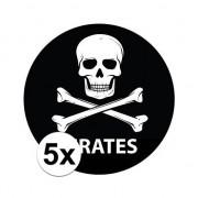 Merkloos 5 stuks zwarte piraten stickers 14,8 cm
