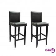 vidaXL Barske Stolice 2 kom Umjetna Koža Crne