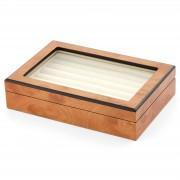 Warren Asher Coffret pour boutons de manchette en bois de pin clair et velours