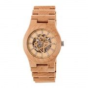Earth Wood Gobi Automatic Skeleton Bracelet Watch - Khaki/Tan ETHEW4301