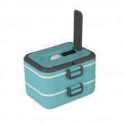 Lunch box cu doua niveluri si 1,5 l capacitate (Rosu)