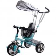 Tricicleta Super Trike 4 in 1 cu bara de protectie,control parental, centura de siguranta - Sun Baby - Turcoaz