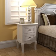 vidaXL Nightstands 2 pcs with 2 Drawers MDF White
