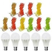 Combo of 5 7W Bright Led Bulb And 10 Led Ladi