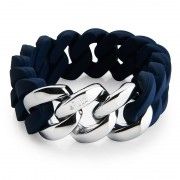 The Rubz Natural Silicone 20mm Unisex Bracelet Navy Blue & Silver