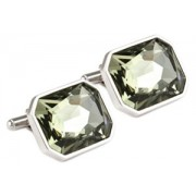 Mousie Bean Crystal Cufflinks Large Rectangle 085 Black Diamond