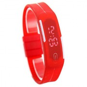 NG Ultra Slim LED Watch - LED display with Silicon Strap-RED COLOUR