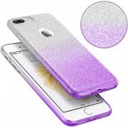 Funda Case Para IPhone 7 / IPhone 8 Doble Protector De Plastico Con Brillos Luxury Y Soporte Tipo Pedestal-Silver Con Morado