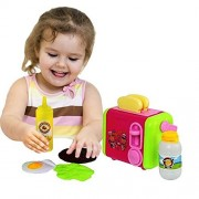 Toy Cubby Pretend Play Pop-up Kitchen Breakfast Toy Bread Toaster Play Set