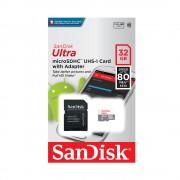 Card Memorie Sandisk Ultra MicroSDHC 32 GB UHS-I Clasa 10 80MB/s + Adaptor SD