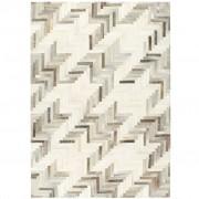 vidaXL Tapis à poils Cuir véritable Patchwork 120x170 cm Gris/Blanc
