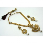 Triangle Golden Pendant Pearl Necklace Set