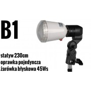 Zestaw oświetleniowy B1: żarówka błyskowa JH-5500, statyw, oprawka