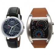 Jack Klein Combo of Brown Speed Meter Style Digital LED Light Watch And Graphic Round Dial Black Strap Analog Watch