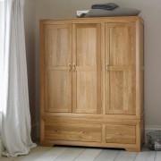 Oak Furnitureland Natural Solid Oak Wardrobes - Triple Wardrobe - Bevel Range - Oak Furnitureland