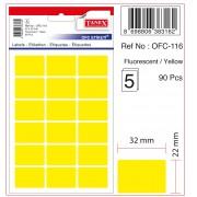 Etichete autoadezive color, 22 x 32 mm, 180 buc/set, Tanex - galben fluorescent