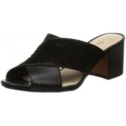 Clarks Women's Barley Blossom Black Combi Lea Leather Loafers and Moccasins - 7 UK/India (41 EU)