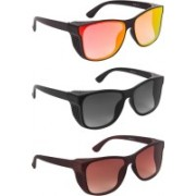 Bryan Adams Over-sized Sunglasses(Brown, Red, Grey)