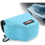 MegaGear Ultra Light Neoprene Camera Case Bag with Carabiner for Canon PowerShot SX510 SX420 IS SX410 IS SX400 (Blue)