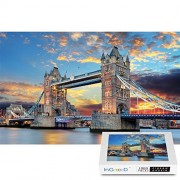 Ingooood - Landscape Series- London Tower Bridge- Jigsaw Puzzles in a Puzzle 1000 Pieces for Adult Glue Included