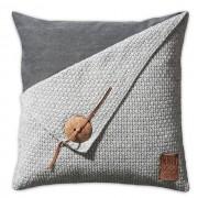 Knit Factory Barley kussen gerstekorrel 50x50 lichtgrijs