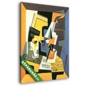 Juan Gris: Hegedű és pohár (20x25 cm, Vászonkép )