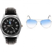 CALIBRO Men's Black watch Skyblue Aviator Sunglass