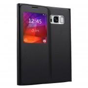 Para Samsung Galaxy S8 Litchi Texture Horizontal Funda De Ecocuero Flip Con Llamada Pantalla Id (negro)