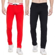 Cliths Pack of 2 Track Pants for Men/Solid Lowers For Men (Red White Black Grey)