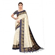 Indian Beauty Women's Navy Blue Color Mysore Silk Printed Saree Border Tassels With Blouse Piece(WEDDING-ELEPHANT-NAVY BLUE _Free Size)