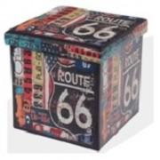 Design tárolós ülőke, 38x38, Route 66
