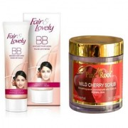 FAIR & LOVELY BB INSTANT FAIR LOOK CREAM 40g WITH PINK ROOT WILD CHERRY SCRUB 100G PACK OF 2