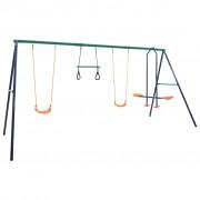 vidaXL Комплект гимнастически халки и люлки с 4 седалки, стомана